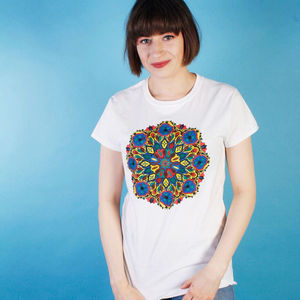 Symmetrical Bloom Colouring In T Shirt