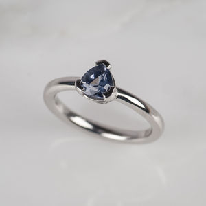 Blue Spinel 18ct White Gold Engagement Ring - rings