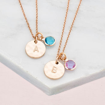 Personalised Hammered Disc And Birthstone Necklace