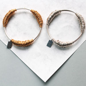 Wire Wrapped Gold And Silver Juno Bangle - bracelets & bangles