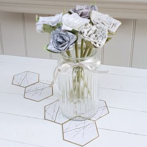 25th Silver Anniversary Cotton Flowers In Vintage Jar - tins, jars & bottles