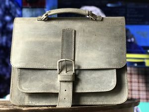 Grey Satchel Leather Handmade In London