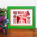 Red Metallic Foil Swedish Dala Horse Print