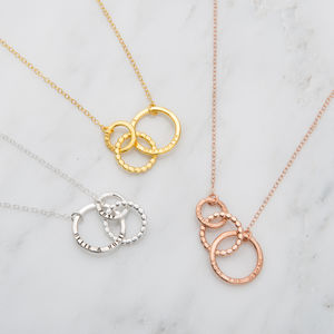 Personalised Bead Trio Necklace - 50th anniversary: gold