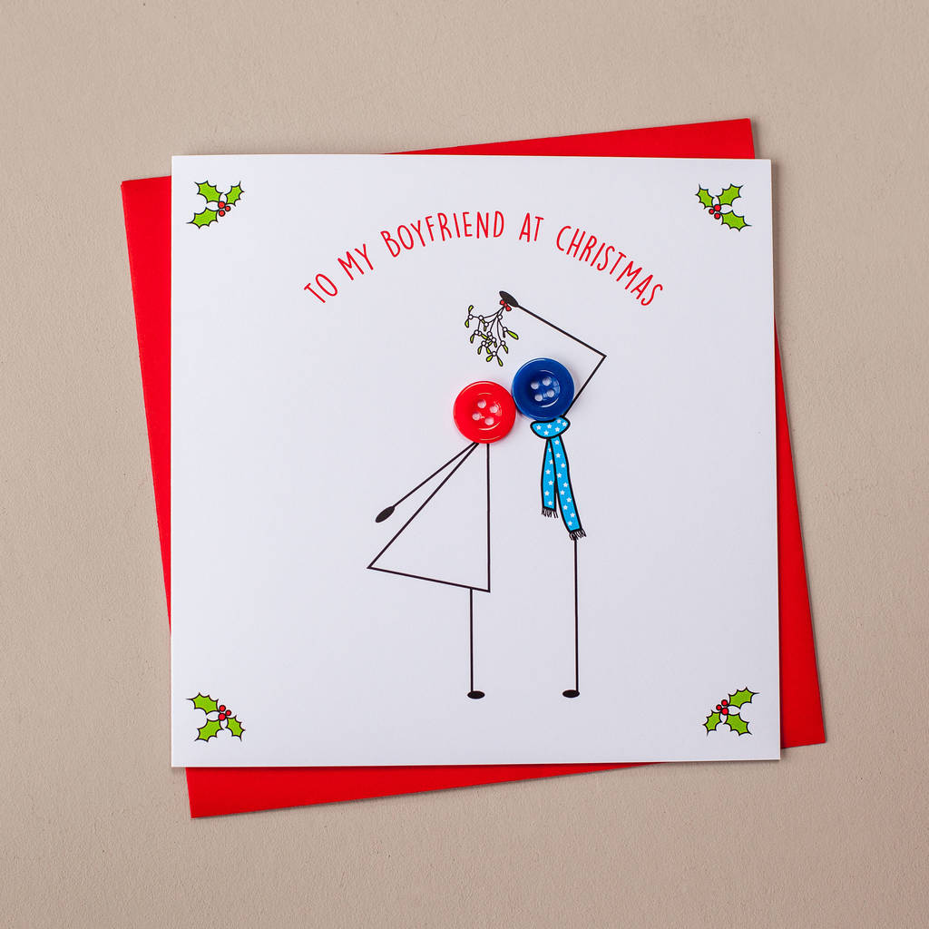 to my boyfriend christmas card kissing under mistletoe - Boyfriend Christmas Card