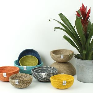 Set Of Three Jute Mini Bowls - bowls