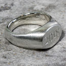 Personalised Sterling Silver Oval Sand Cast Signet Ring