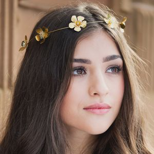 Astoria Golden Flower Bridal Goddess Halo - bridal hairpieces