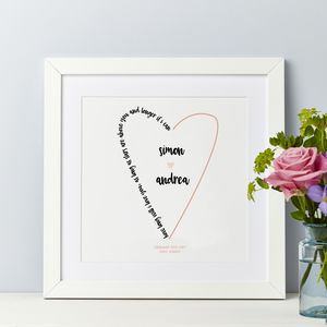 Wedding Personalised Song Words And Lyrics Print - music