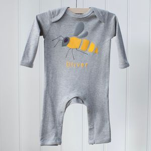 Personalised Bee Applique Sleepsuit