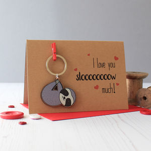 Sloth Valentine's Day Card With Keyring