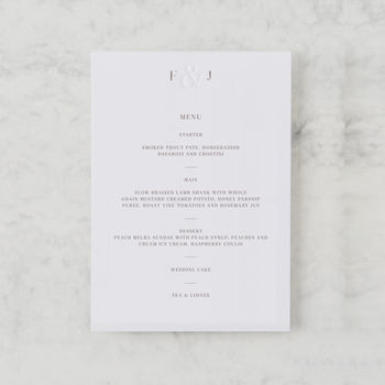 'Etched In Time' Luxury Wedding Menu