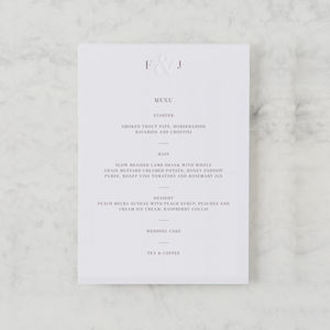 'Etched In Time' Letterpress Menu - menu cards
