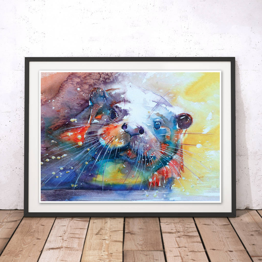 Rainbow Otter Watercolour Fine Art Print