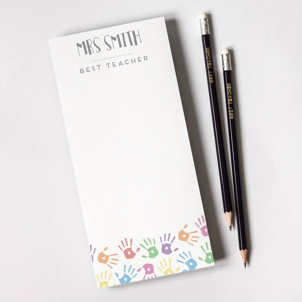 Personalised Teacher Tear Off Notepad And Pencils By Able