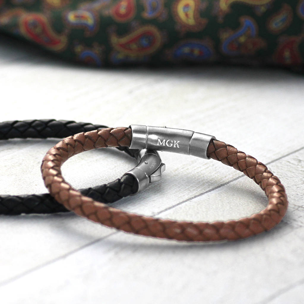 df0d56beeb36f Men's Leather Bracelet With Hallmarked Silver Clasp