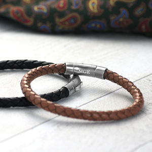 Men's Leather Bracelet With Hallmarked Silver Clasp - bracelets