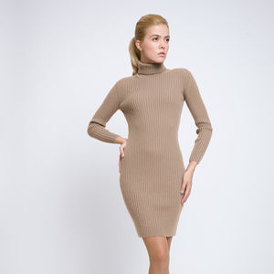 Claudia Ribbed Knit Roll Neck Merino Wool Dress - dresses