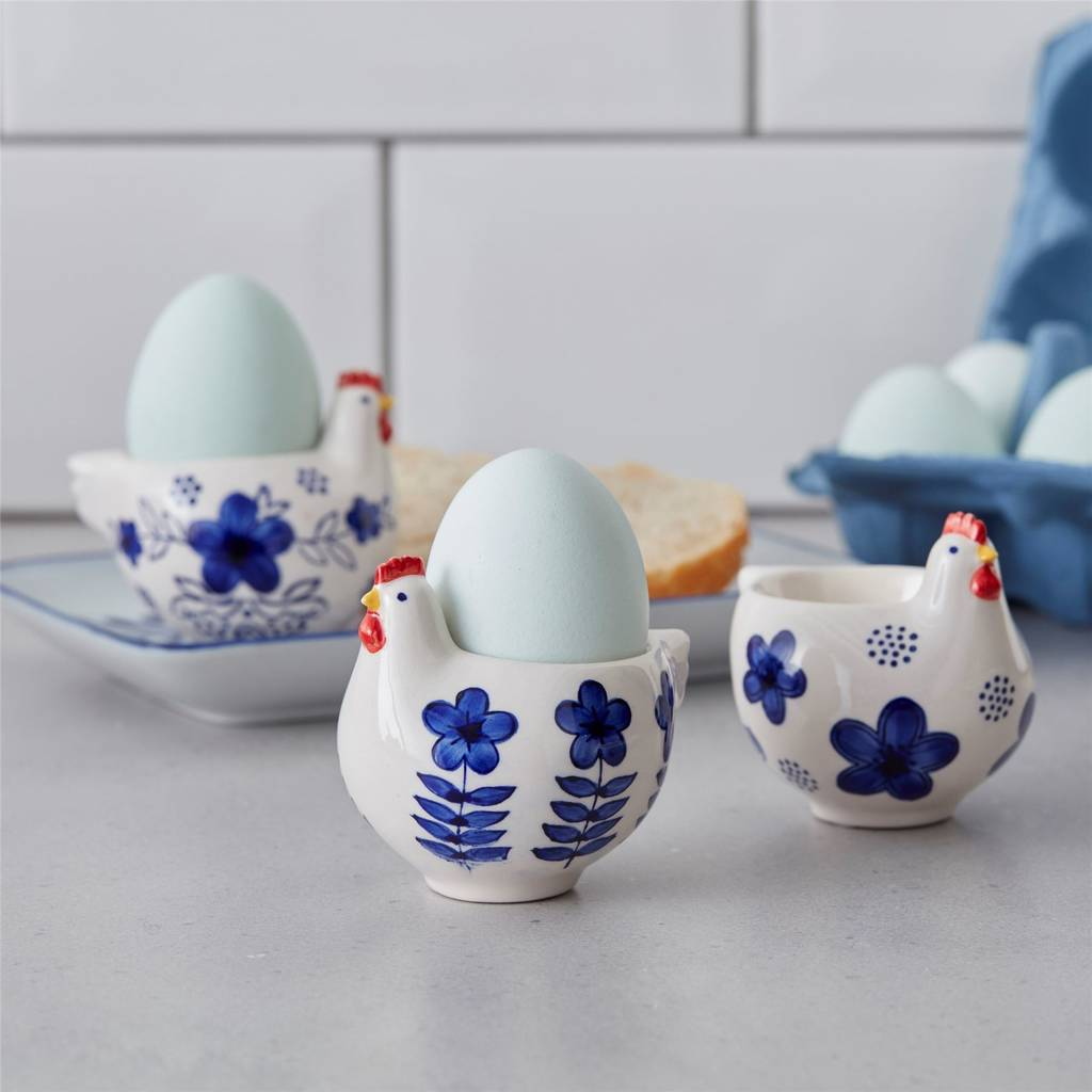 Blue And White Chicken Egg Cups