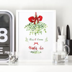 Personalised Christmas Mistletoe Print - posters & prints