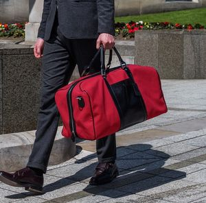 Canvas/Leather Large Luggage Bag. ' The Giovane L' - top leather accessories