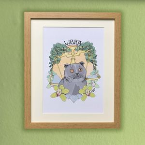 Libra Cat Star Sign Zodiac Print - drawings & illustrations