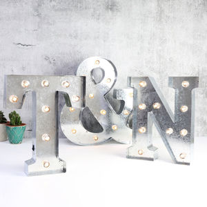 Industrial Metal Letter With LED Lights - wall lights