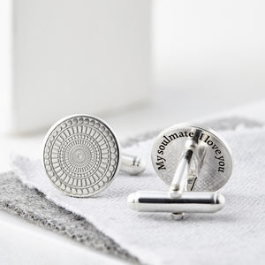 Personalised Engraved Round Sterling Silver Cufflinks - wedding fashion
