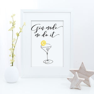 Gin Typography Print - food & drink prints