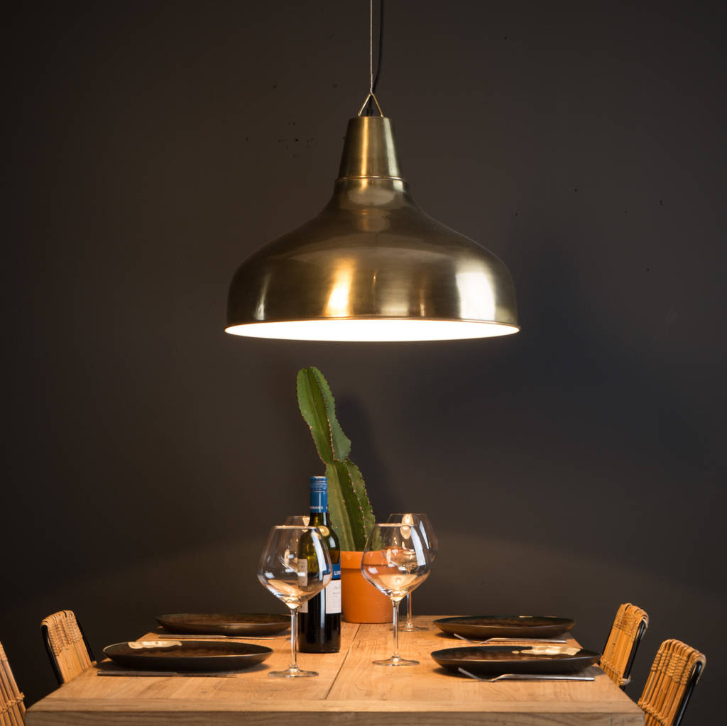 Large Industrial Brass Pendant Light By Ella James