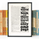 St Augustine 'The World Is A Book' Quote Print
