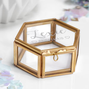 Personalised Mini Hexagon Bridesmaid Jewellery Box - storage & organisers
