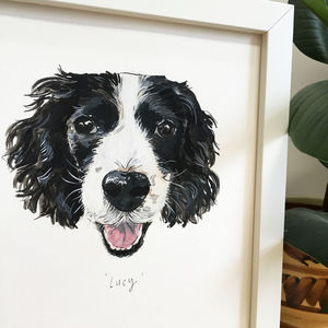 Hand Painted Personalised Custom Dog Portrait - pet portraits
