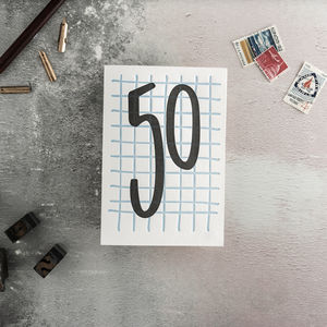 50 Tall Number Letterpress Birthday Card