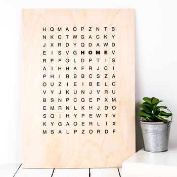 Housewarming Gift Wooden 'Home' Wordsearch Print