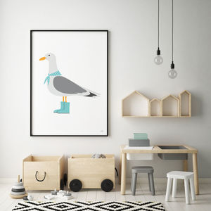 Seagull Print - children's pictures & paintings