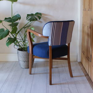 Striped Back Linen Chair - furniture