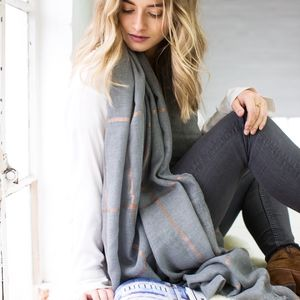 Personalised Grey To Gold Checked Scarf - best mother's day gifts