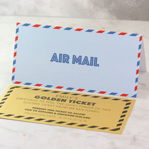 Airmail Card With Personalised Travel Ticket - leaving cards