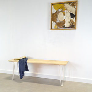 Solid Ash Bench On Hairpin Legs - new in home