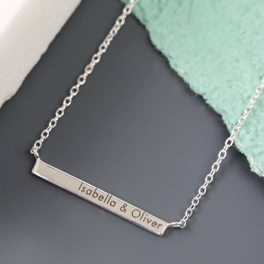 plated gold horizontal bar products necklace