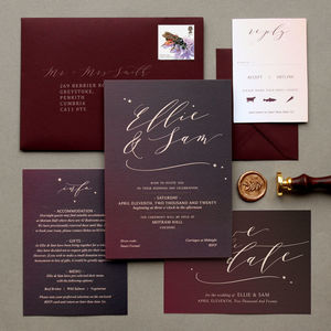 Red Skies Burgundy Ombre Wedding Invite Collection
