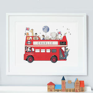 Personalised London Bus Nursery Print