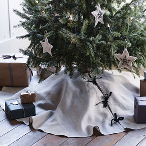 Tilly Linen Tree Skirt - tree decorations