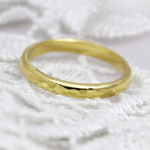 Welsh And Recycled Gold Hammered 2mm D Profile Ring