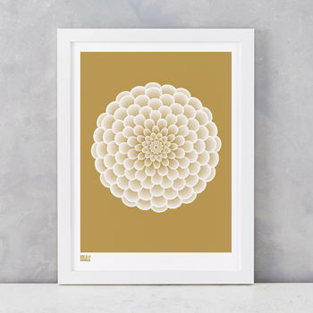 'Dahlia Pompon' Art Print In Metallic Bronze