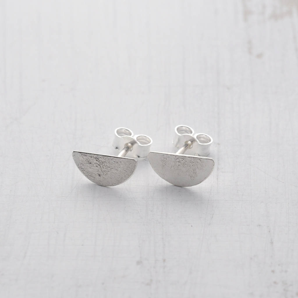 515241855 half moon silver stud earrings by marion made jewellery ...
