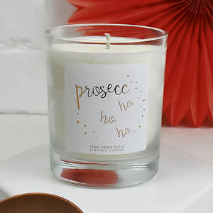 'Prosecco Ho Ho Ho' Scented Christmas Candle - candles & home fragrance