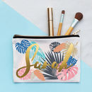 Personalised Metallic Floral Make Up Bag