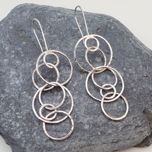 Circle Hammered Sterling Silver Long Drop Earrings - earrings